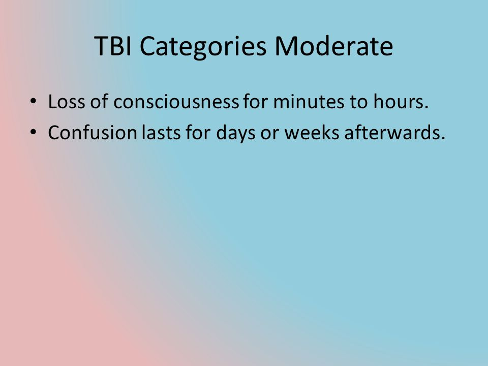 TBI Categories Moderate