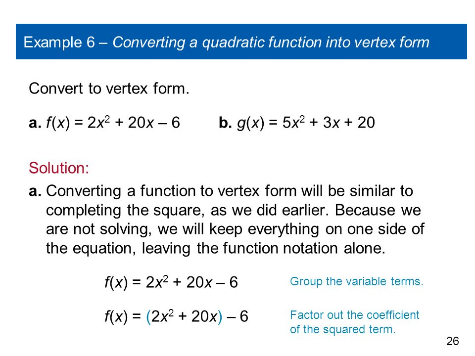 How To Turn A Quadratic Into Vertex Form Divingexperience