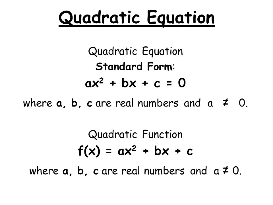 Quadratic Equation ax2 + bx + c = 0 f(x) = ax2 + bx + c