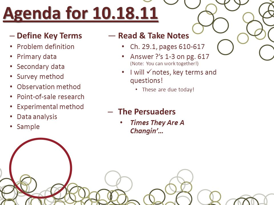 Agenda For Define Key Terms Read & Take Notes The Persuaders - Ppt