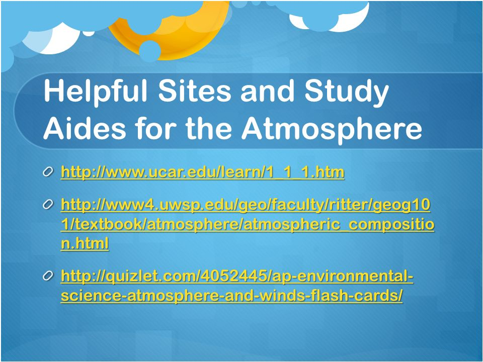 Helpful Sites and Study Aides for the Atmosphere