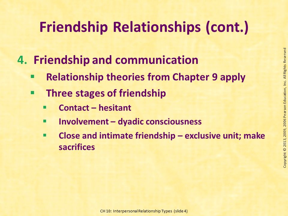 friendship interpersonal relationship and friendships On number of interpersonal relationships or frequency of interaction [conner et al , 1979 lowenthal and robinson, 1977] in addition to the large and varied research literature on peer relations, there is a growing body of research investigating the nature and development of friendship the remainder of this review.