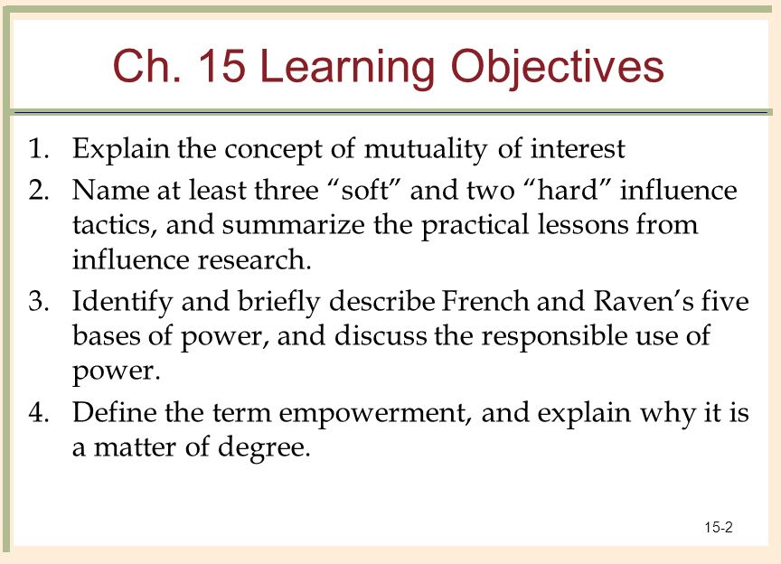 hard and soft influence tactics Transcript of power and influence in the workplace power and influence the real issue at hand power and influence types of influence tactics can be hard or soft influence tactics hard influence tactics force behavior change through position power - silent authority.