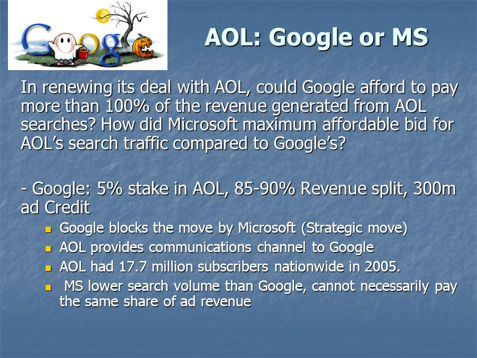could google afford to pay aol more than 100 of revenue generated from aol searches 08022018 more than speakers: google and  amazon's ad revenue could quickly  and a more thorough partnership with retail may be more than warranted to.
