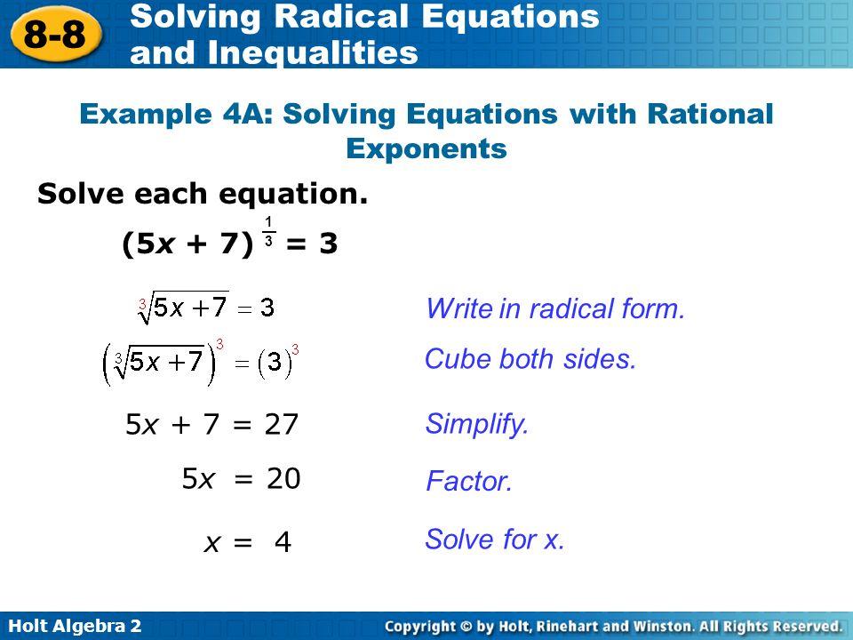 Objective Solve radical equations. - ppt video online download
