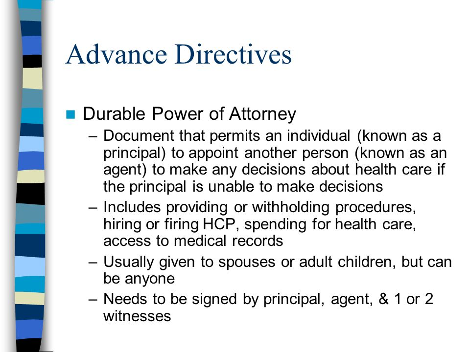 the issues involve in honoring a patients advance directive January 23, 2018 advance directives for dementia: honoring patient wishes when you don't know what they are.