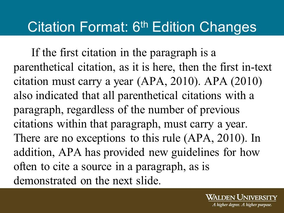 apa refrence 6th edition Using apa format (6th edition) author and year of publication in your in-text reference, but apa guidelines encourage you to also provide the page number.