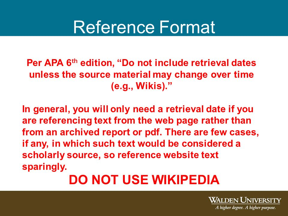 Introduction to 6th edition apa citations and references ppt 22 reference format do not use wikipedia per apa 6th edition ccuart Images