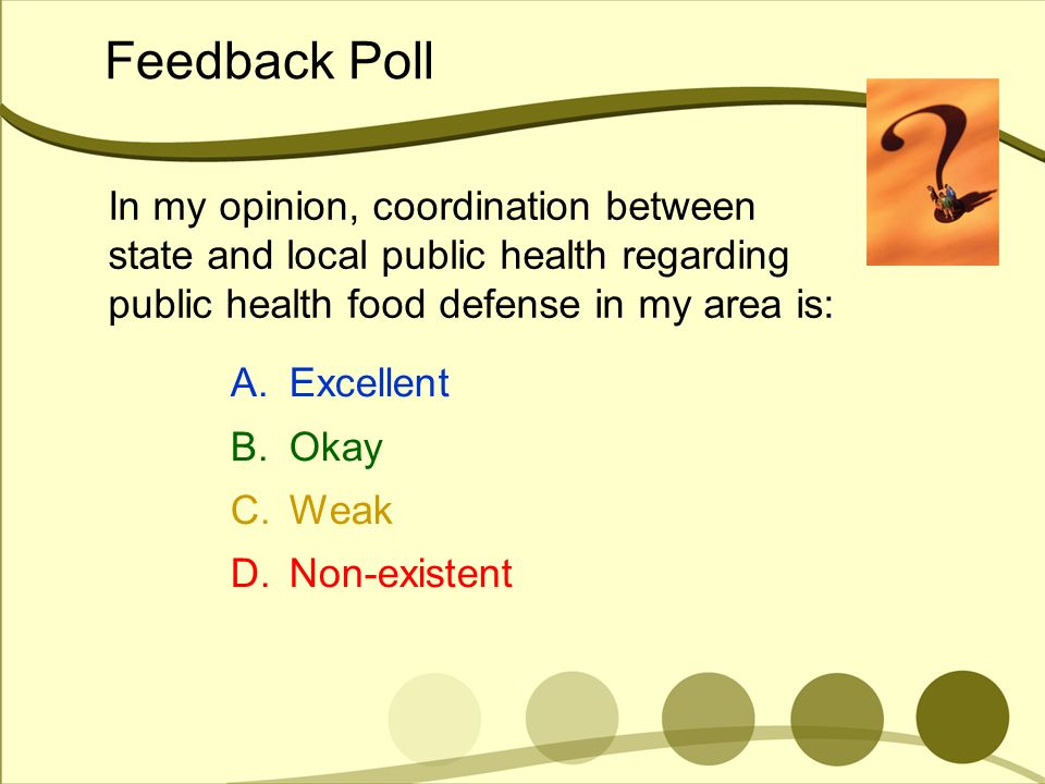 Feedback Poll In my opinion, coordination between state and local public health regarding public health food defense in my area is: