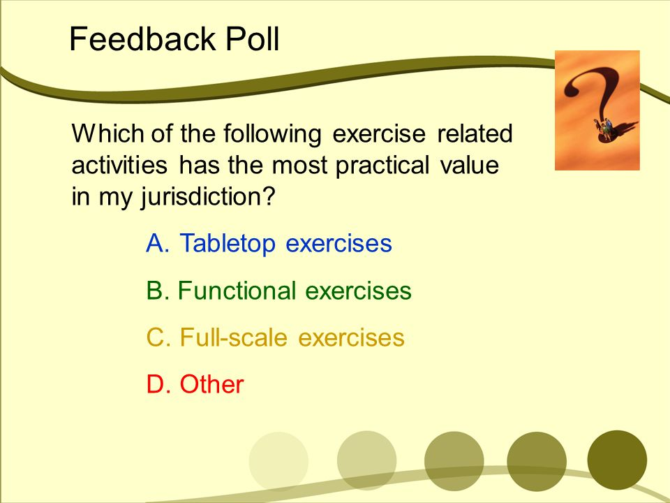 Feedback Poll Which of the following exercise related activities has the most practical value in my jurisdiction