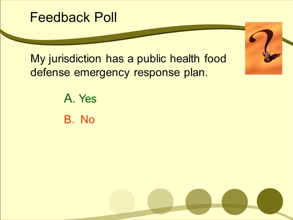 Feedback Poll My jurisdiction has a public health food defense emergency response plan. Yes B. No