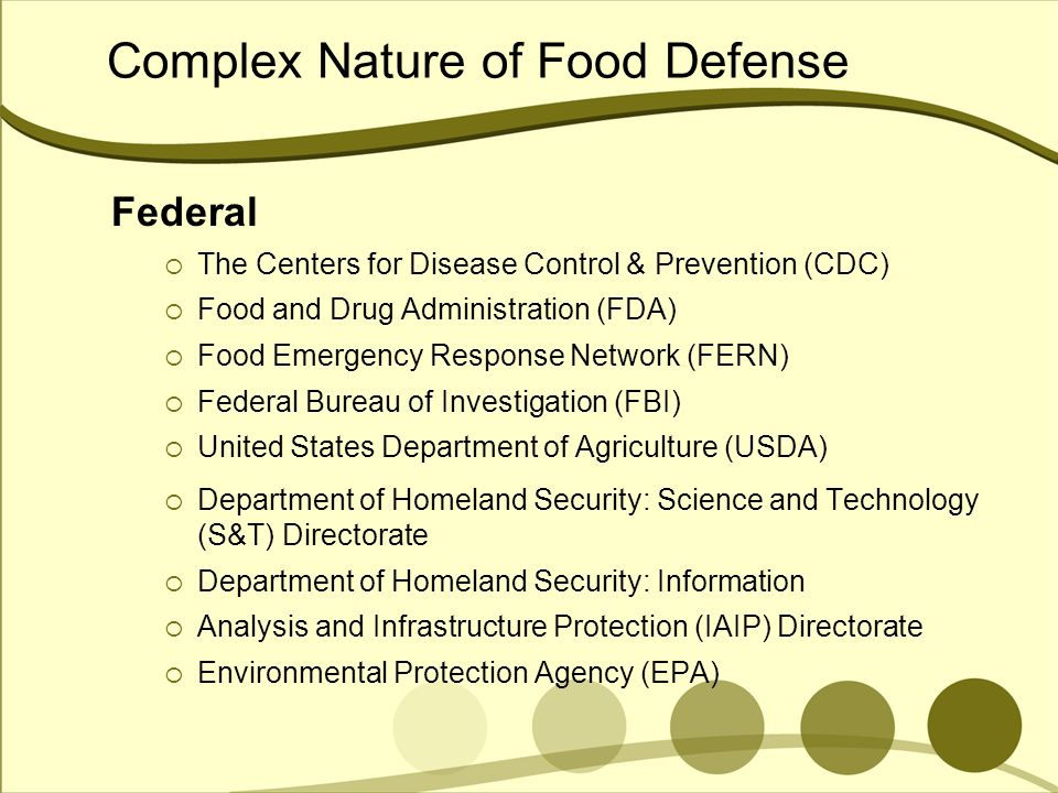 Complex Nature of Food Defense