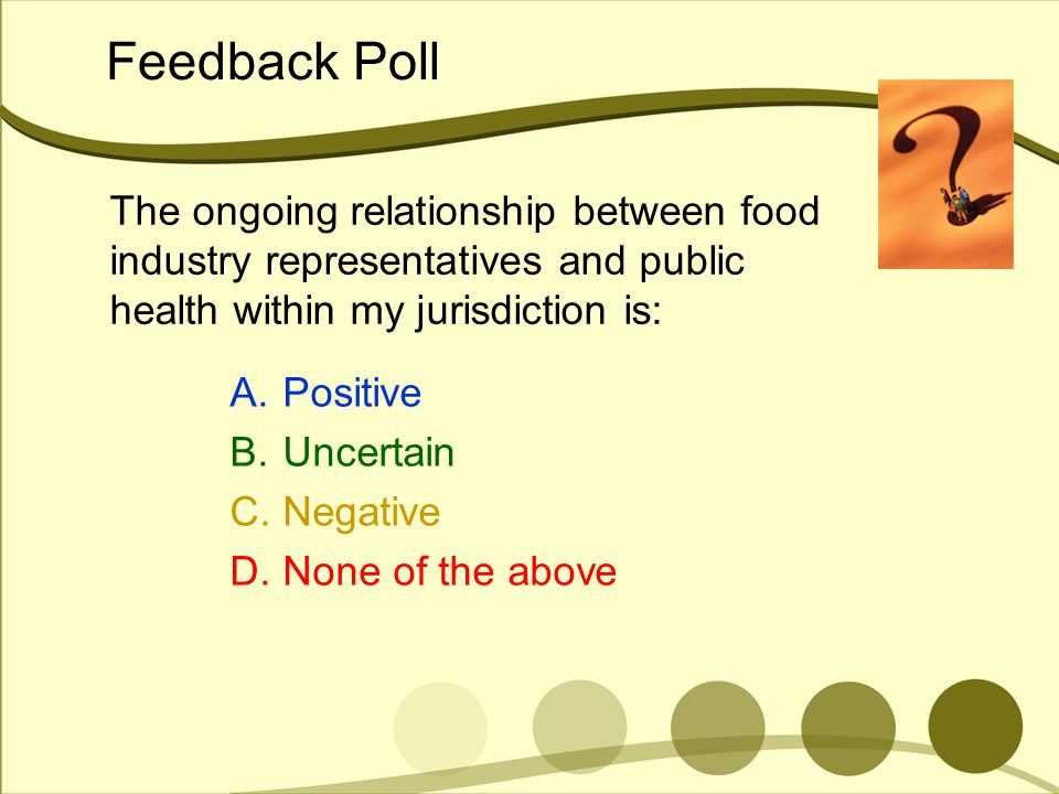 Feedback Poll The ongoing relationship between food industry representatives and public health within my jurisdiction is: