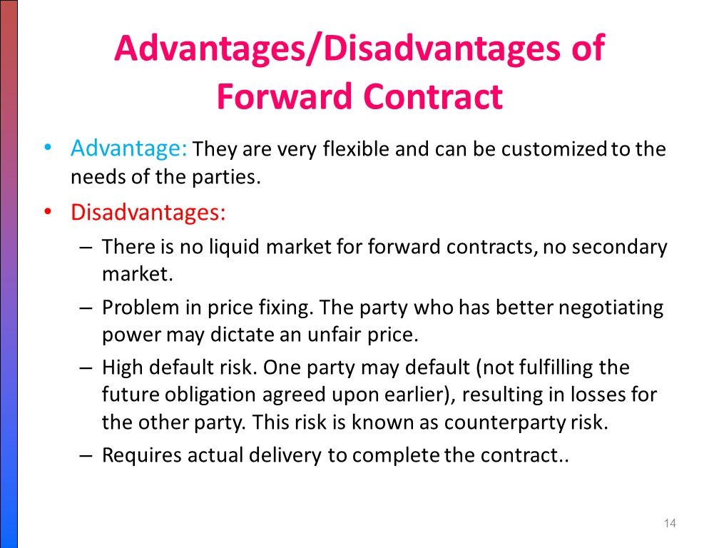 the advantages and disadvantages of forward contracts Forward versus currency option contracts what are the advantages and disadvantages to a u admin | march 7, 2018 14 forward versus currency option contractswhat are.