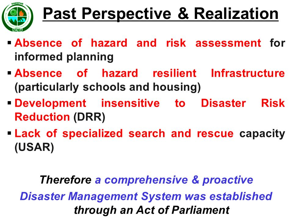Past Perspective & Realization Therefore a comprehensive & proactive