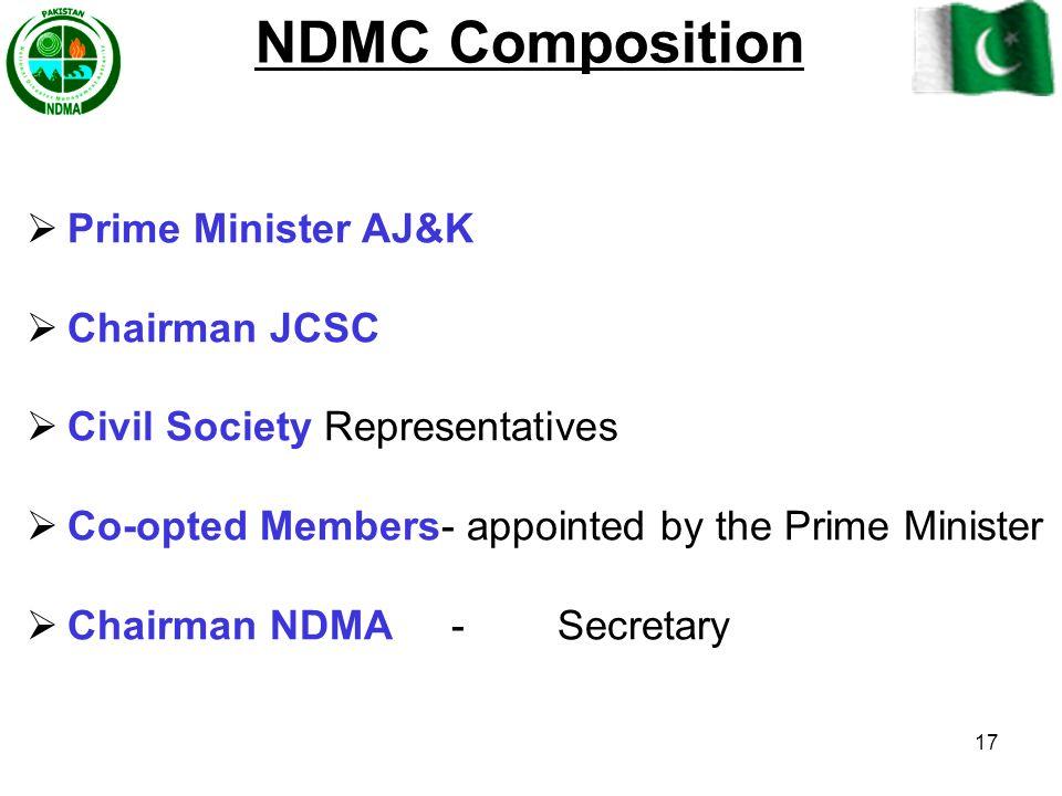NDMC Composition Prime Minister AJ&K Chairman JCSC