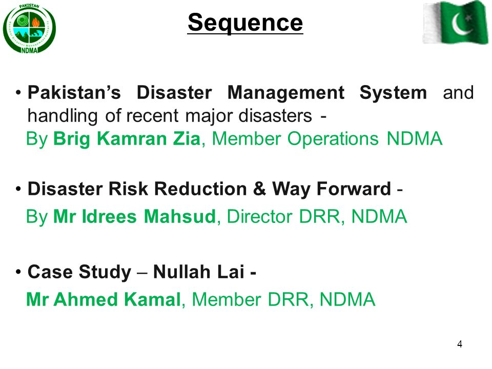 Sequence Pakistan's Disaster Management System and handling of recent major disasters - By Brig Kamran Zia, Member Operations NDMA.
