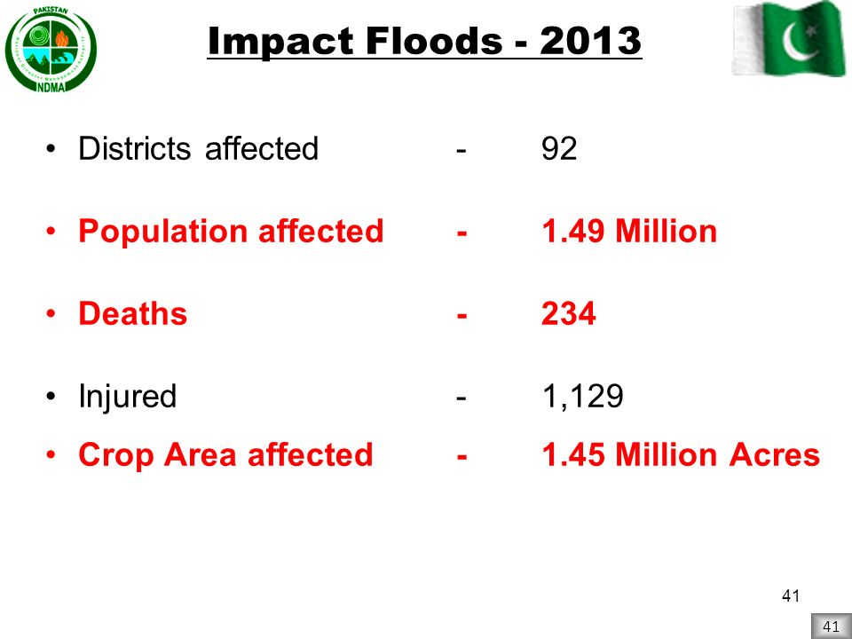 Impact Floods - 2013 Districts affected - 92