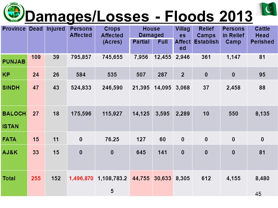 Damages/Losses - Floods 2013