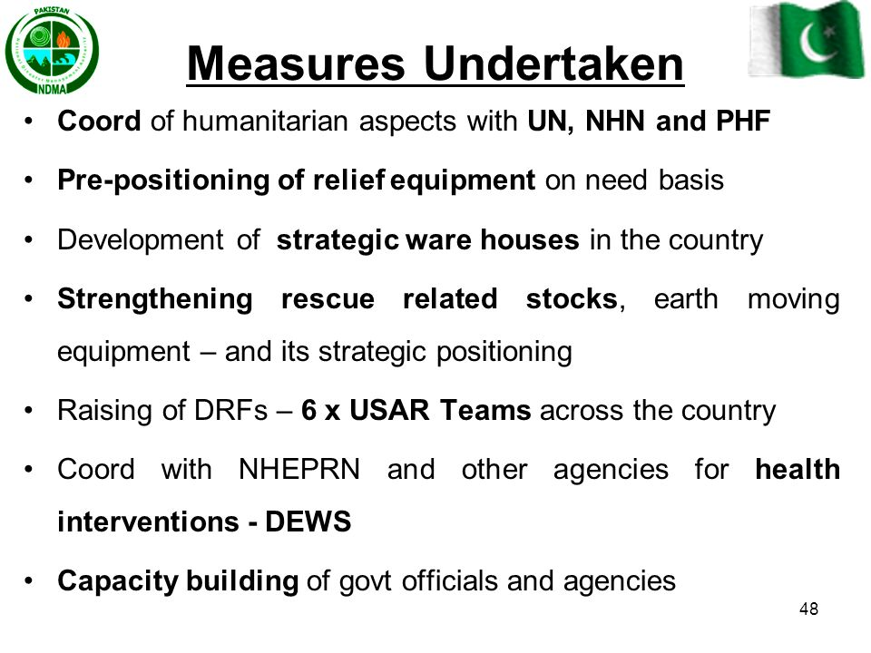 Measures Undertaken Coord of humanitarian aspects with UN, NHN and PHF