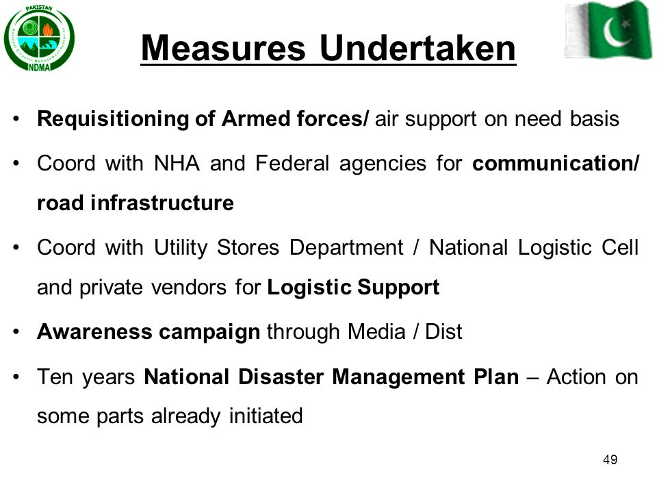 Measures Undertaken Requisitioning of Armed forces/ air support on need basis.