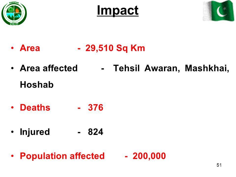 Impact Area - 29,510 Sq Km. Area affected - Tehsil Awaran, Mashkhai, Hoshab. Deaths - 376.