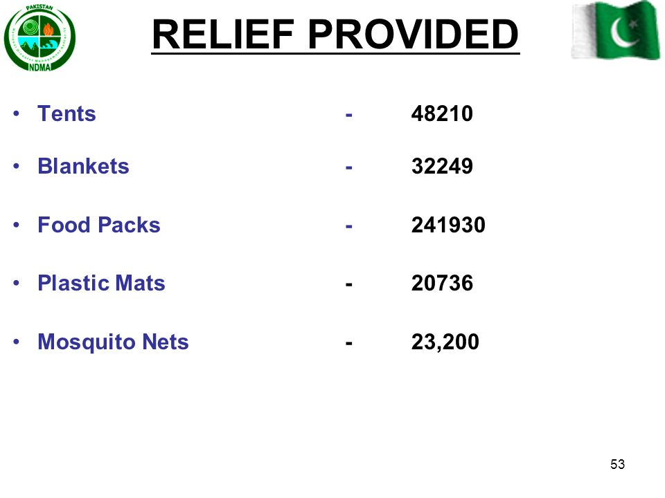 RELIEF PROVIDED Tents - 48210 Blankets - 32249 Food Packs - 241930