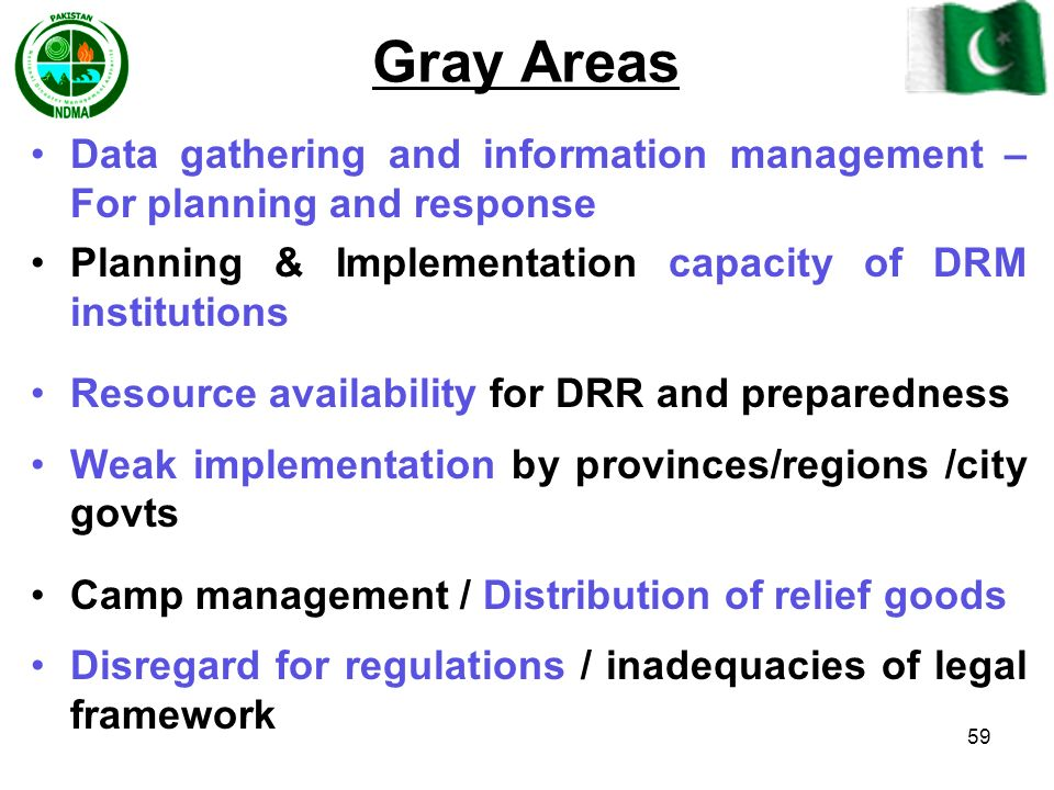 Gray Areas Data gathering and information management – For planning and response. Planning & Implementation capacity of DRM institutions.