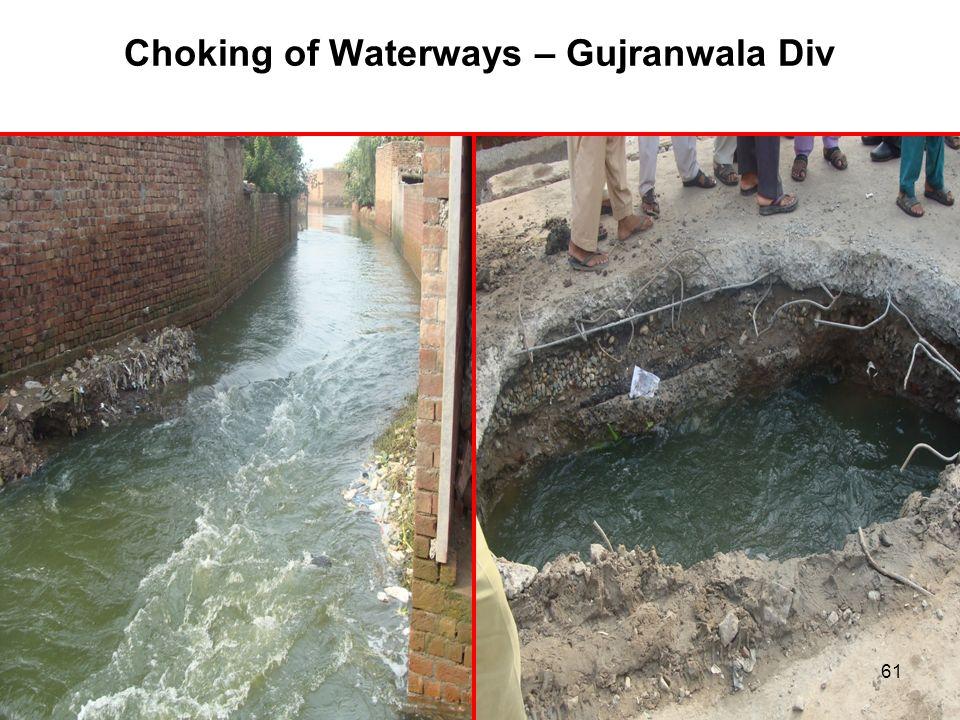 Choking of Waterways – Gujranwala Div