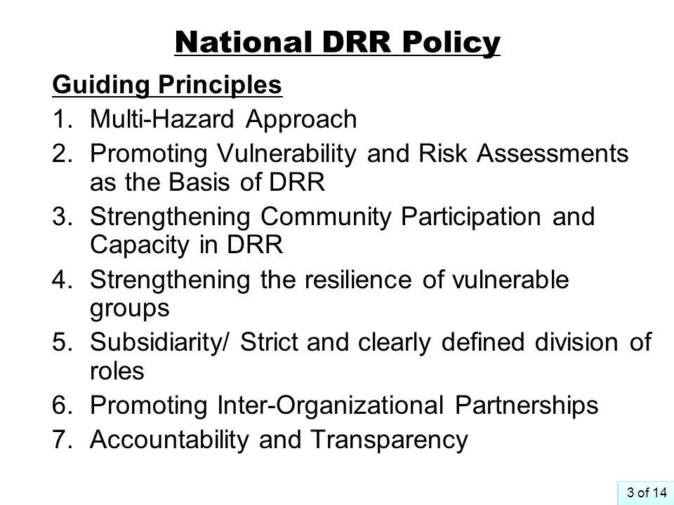National DRR Policy Guiding Principles Multi-Hazard Approach