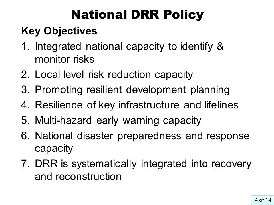 National DRR Policy Key Objectives
