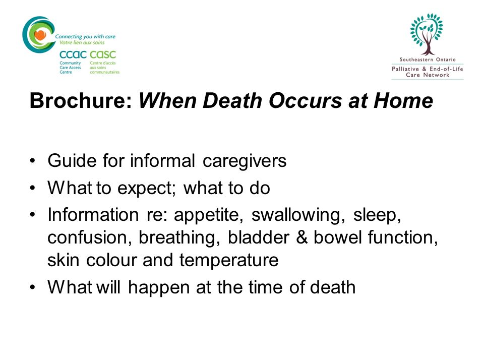 Brochure: When Death Occurs at Home