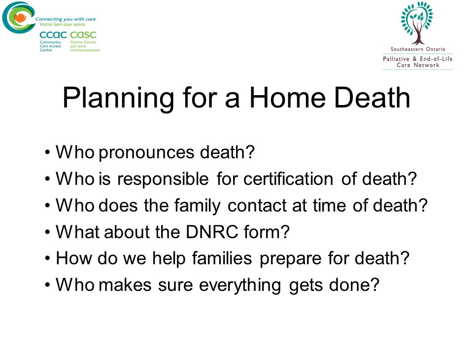 Planning for a Home Death
