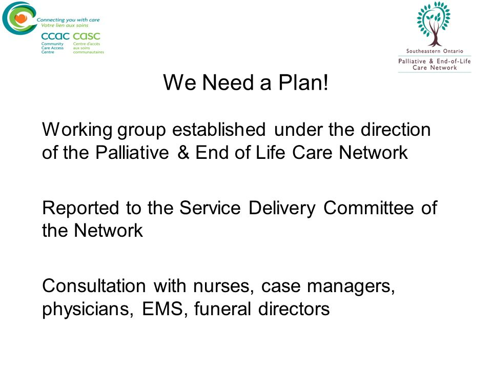 We Need a Plan! Working group established under the direction of the Palliative & End of Life Care Network.