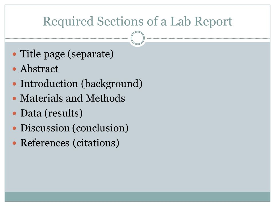 materials and methods lab report Sample lab 1 report - 1 biol 213l: genetics lab (fall 2000) sample lab report for lab 1  materials and methods calibration of a micropipetter.