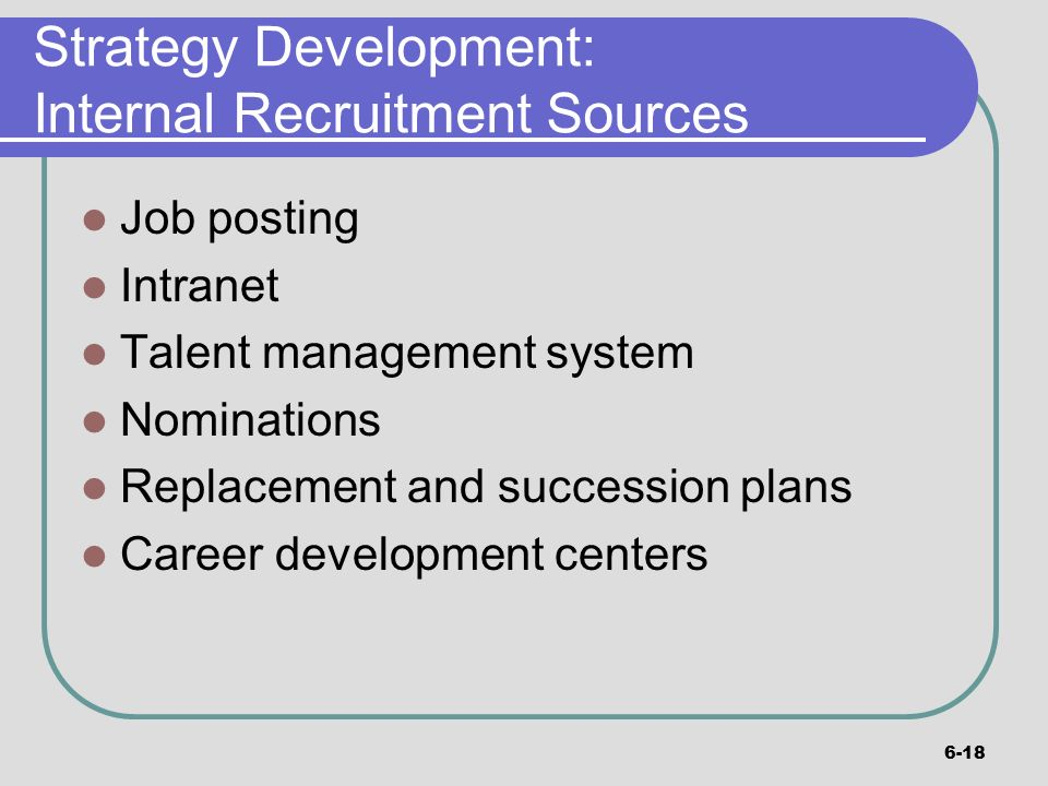 internal recruitment Informal recruitment methods are also very common at large companies and are the primary way smaller organizations recruit internal candidates informal recruiting methods are things like.