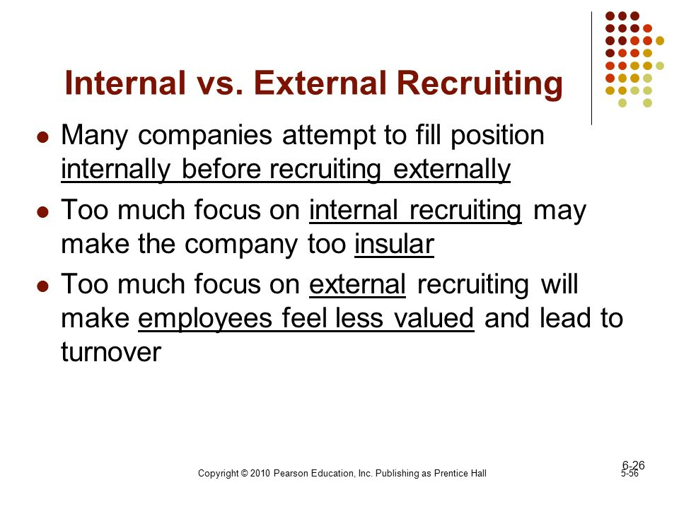 internal vs external recruitment essays Internal recruitment external recruitment applicants may already be well known to the selection team external applicant will bring new ideas and.