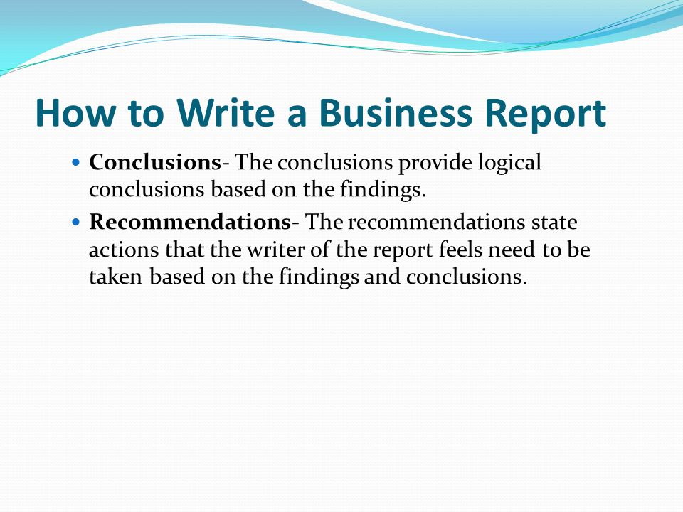 how to write recommendations for a report