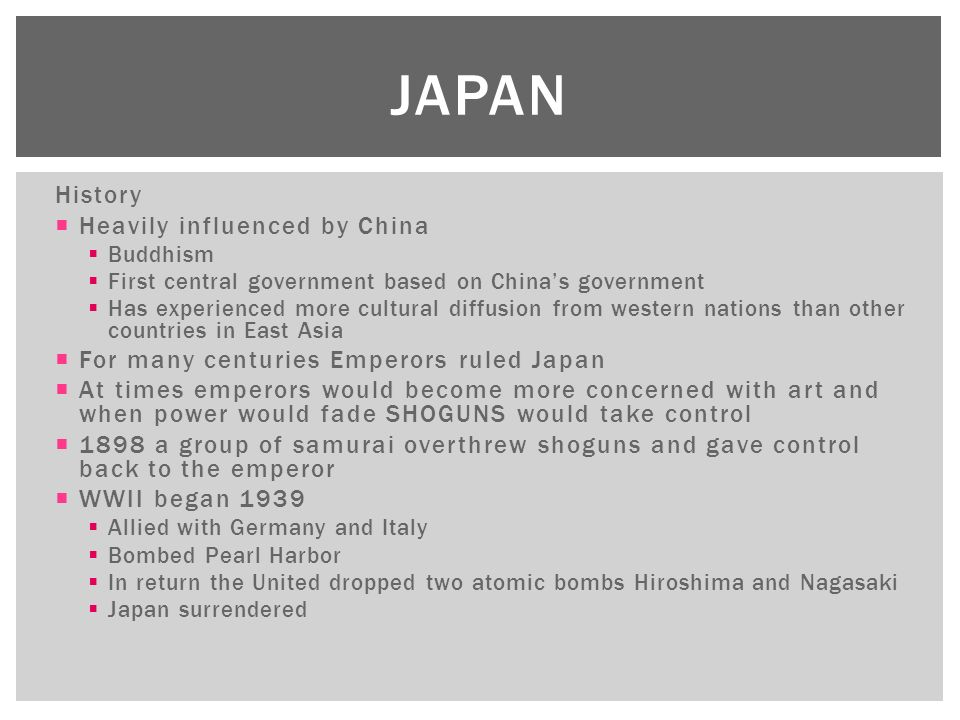 the influence of buddhism on the history of china and japan Shinto beliefs and ways of thinking influence japanese  buddhism buddhism came to japan from china in the  in japan's history, shinto and buddhism were.
