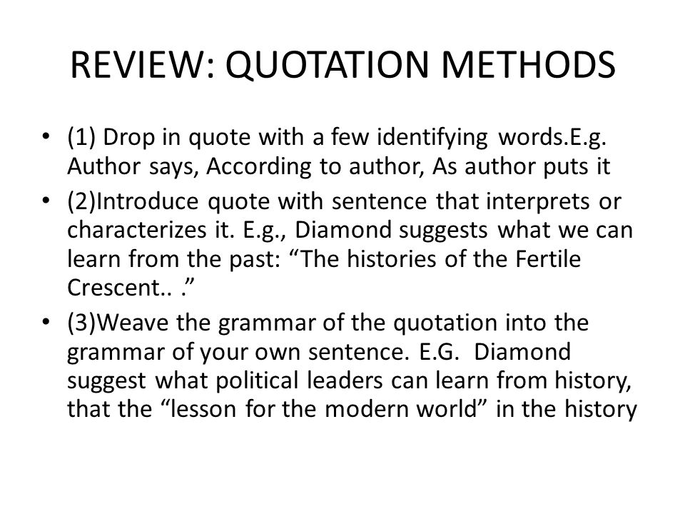 REVIEW: QUOTATION METHODS