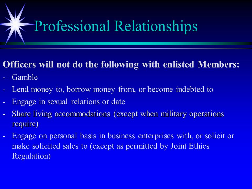 dating between officers and enlisted Fraternization policy is contained in air force instruction 36-2909 and prohibits relationships between officers and enlisted with or dating enlisted.
