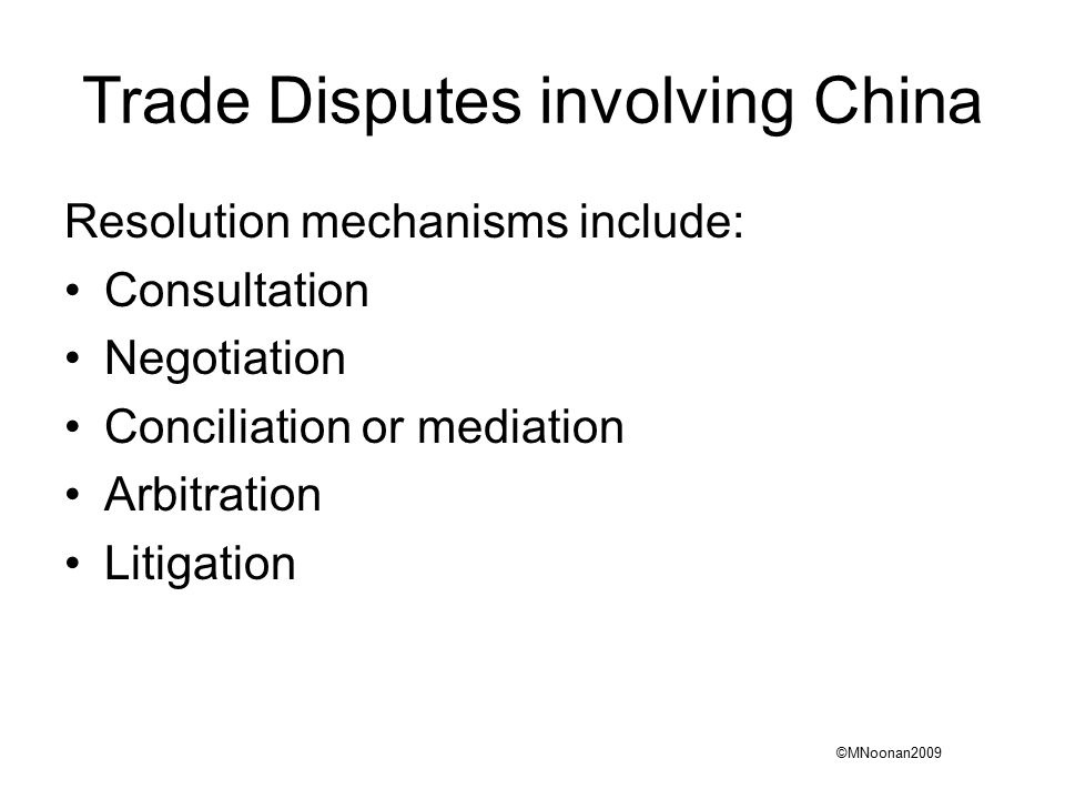 an essay on methods of resolution of disputes in international trade contracts Simple negotiation with your partner is usually the best method of dispute resolution  most business contracts in  china international economic and trade .