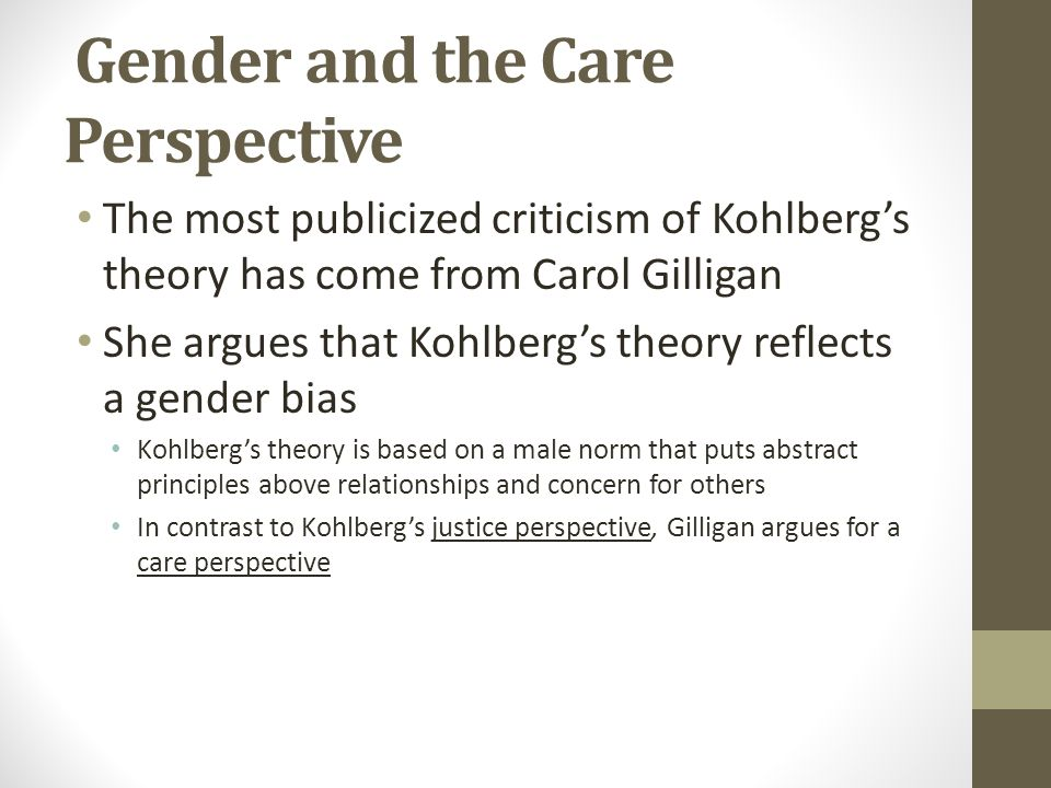 carol gilligan the gender factor Research on gender differences in moral reasoning has moved beyond the justice-care paradigm inaugurated by carol gilligan (1982)  factor analyses reveal care and.