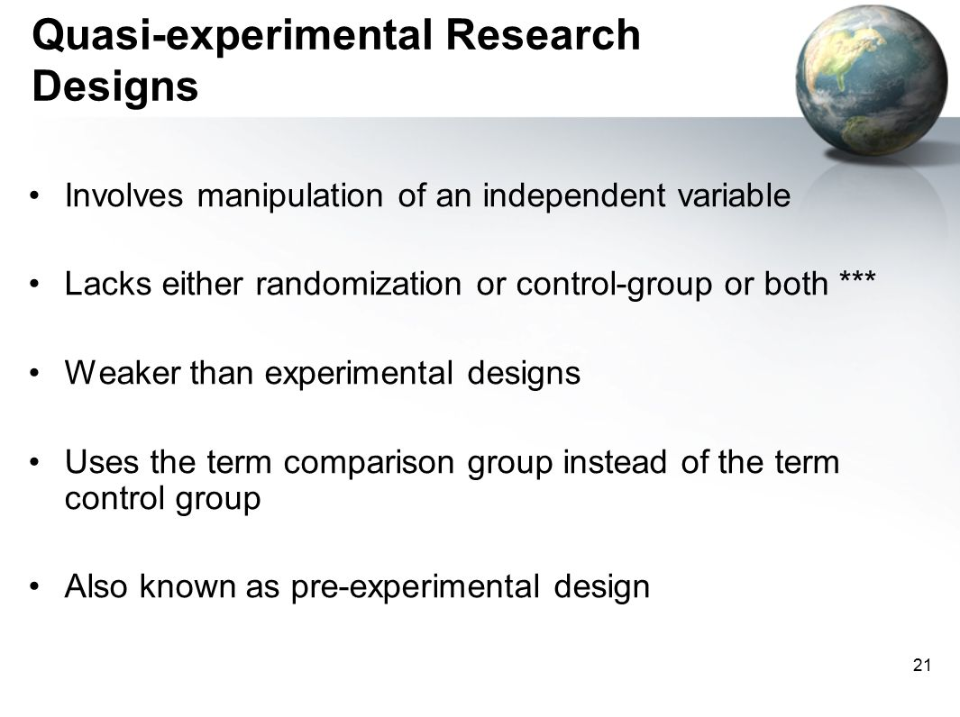 compare and contrast experimental and quasi experimental research designs One of the broad classification of the research designs is into experimental and non-experimental research experimental research design compare the results.