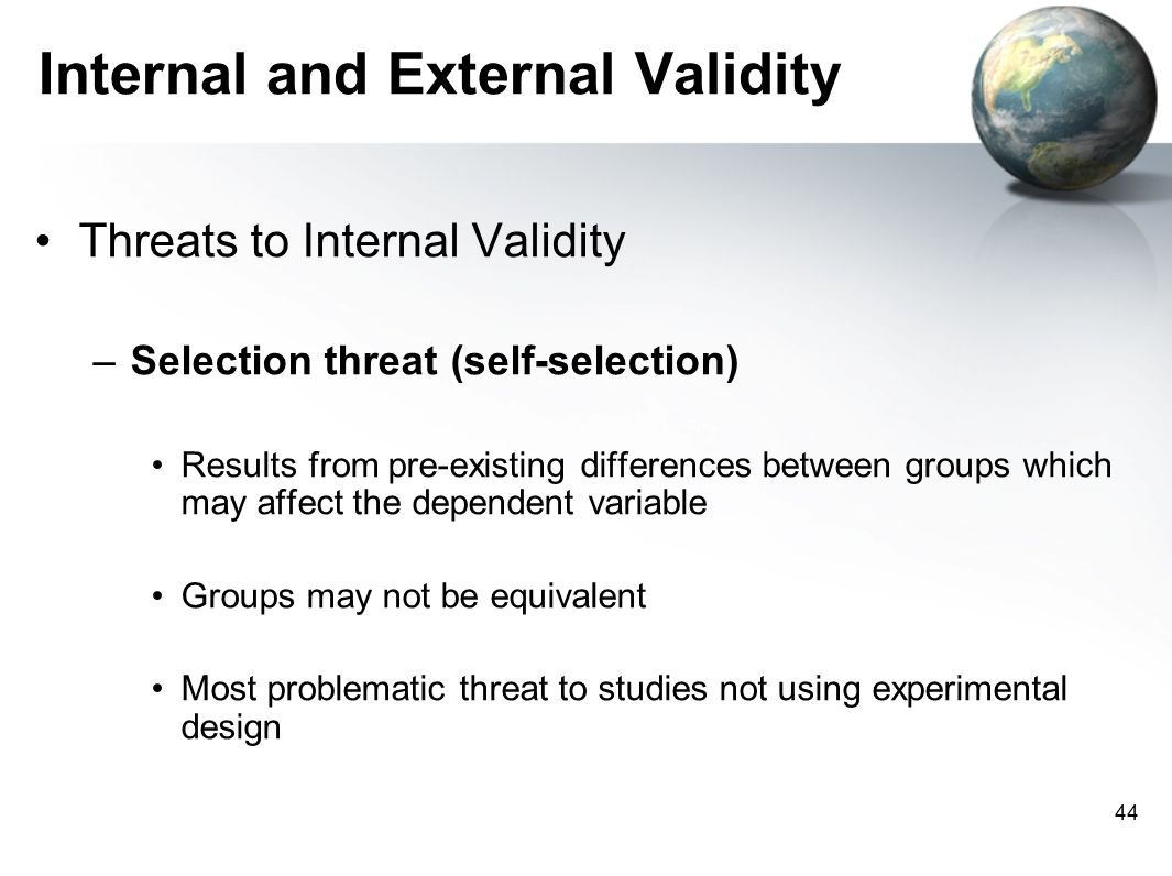threats to internal validity differences between The conflict between random assignment and treatment preference: implications for internal  differences between non  threats to internal validity that.