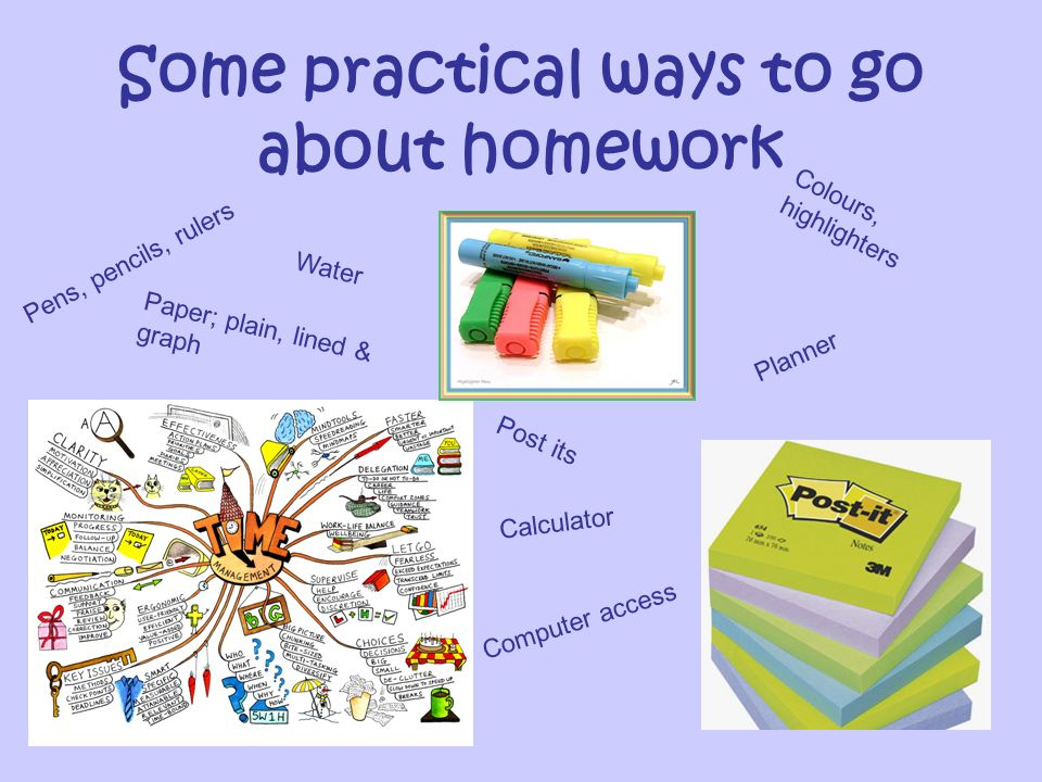 Some practical ways to go about homework