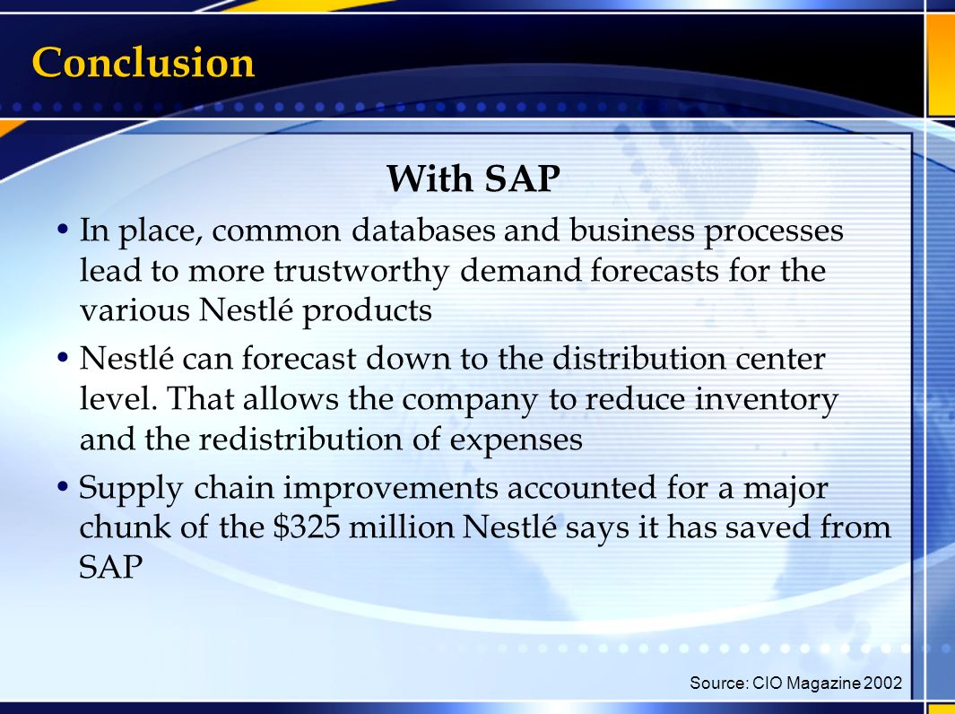 erp on nestle Conclusion part of nestle erp implementation presentation, presented by me.