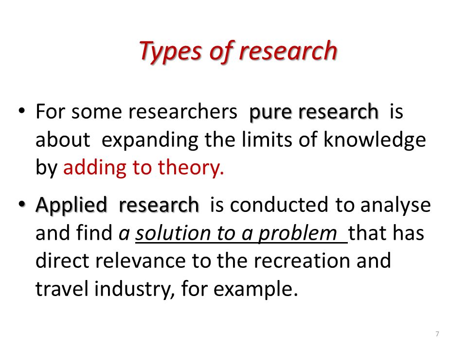 Pure research is