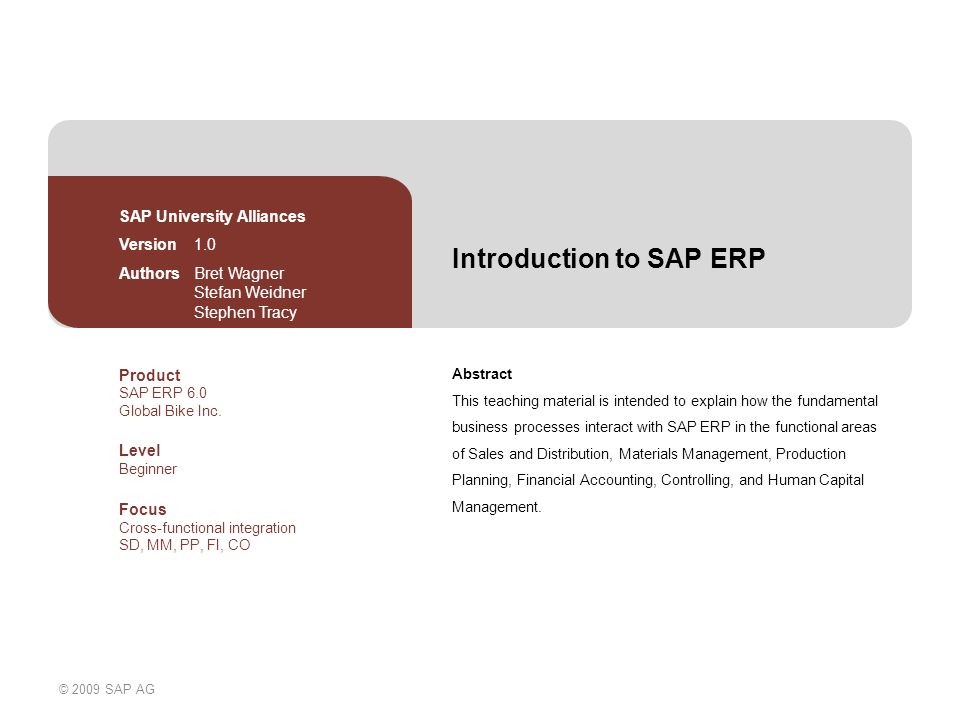 erp sap introduction Sap - introduction 5 sap 1 6 erp term used for software that controls whole  organizations different departments for example_ sap, oracle,.