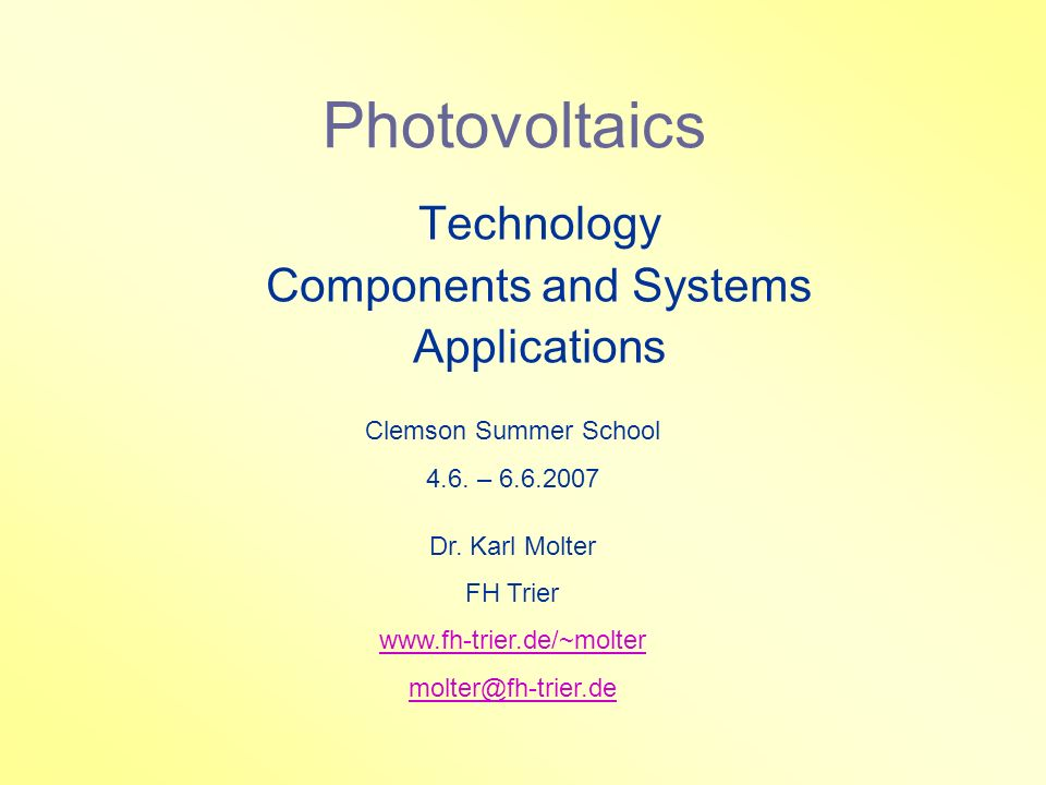 Technology Components and Systems Applications